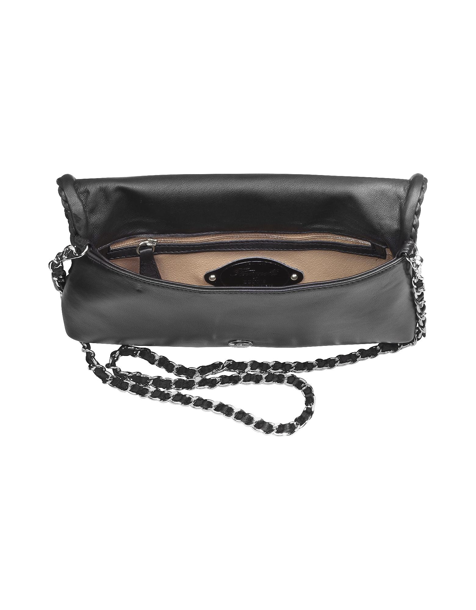 Fontanelli / Black Leather Baguette Bag