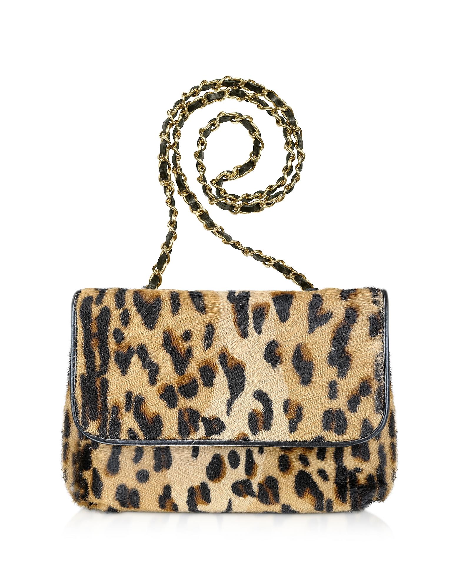 Fontanelli Handbags, Calfhair Leopard Print Shoulder Bag