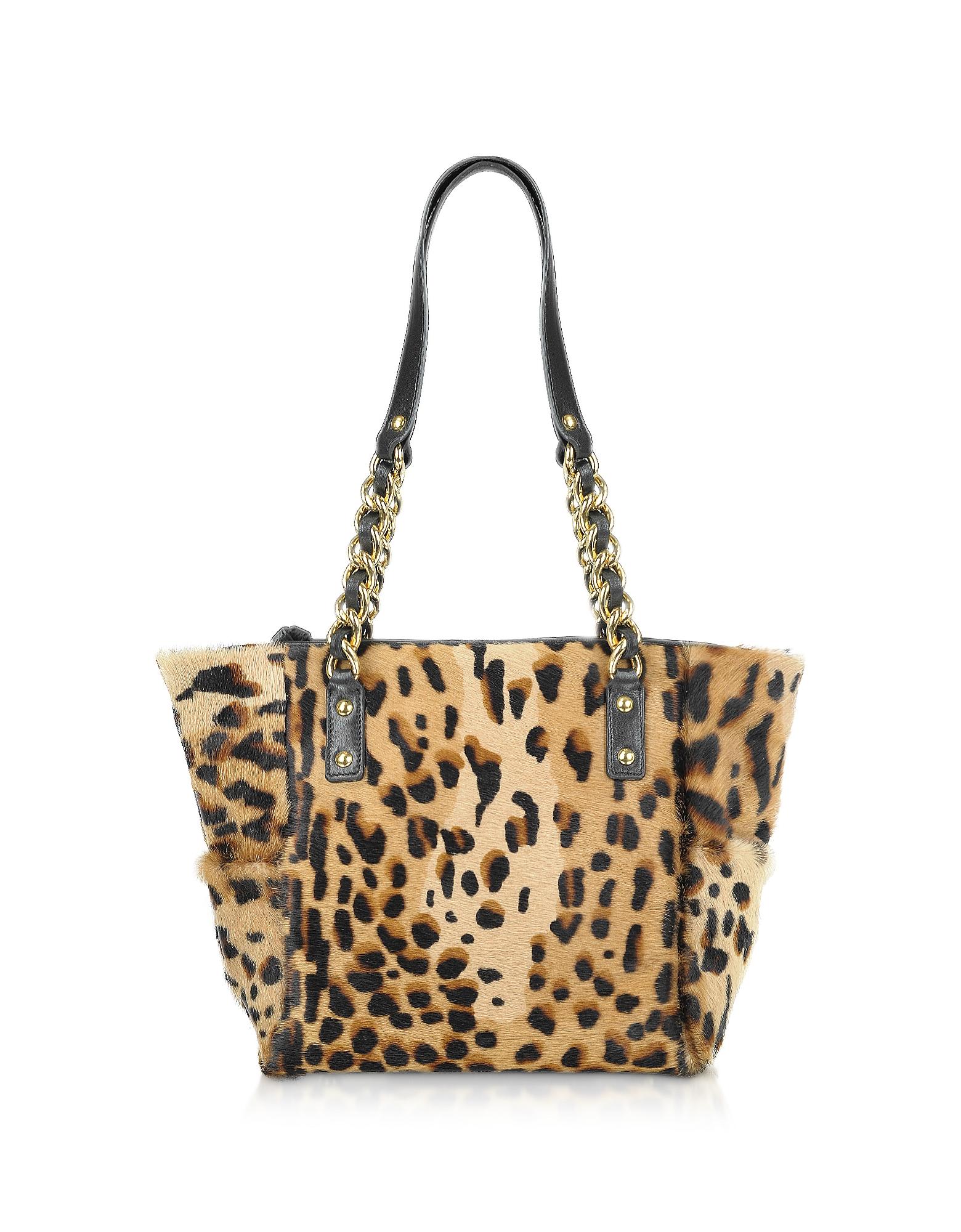 Fontanelli Handbags, Calfhair Leopard Print Mini Tote