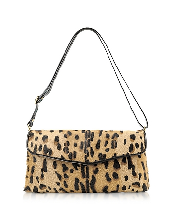 Calfhair Leopard Print Shoulder Bag