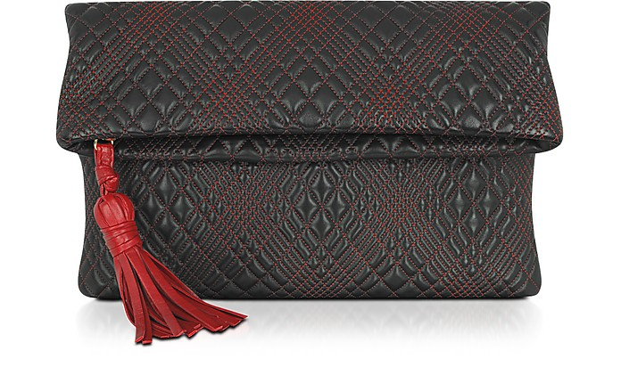 Black Quilted Leather Clutch - Fontanelli