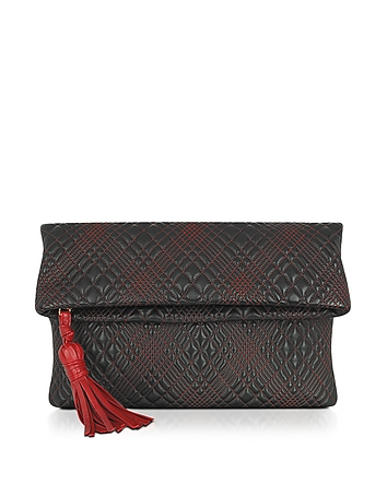 Black Quilted Leather Clutch