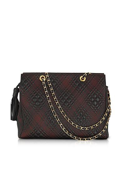 Black Quilted Leather Shoulder Bag - Fontanelli