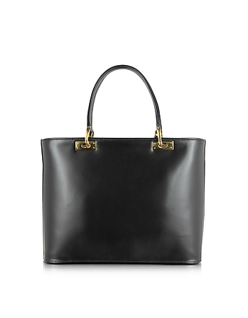 Polished Black Leather Tote Handbag