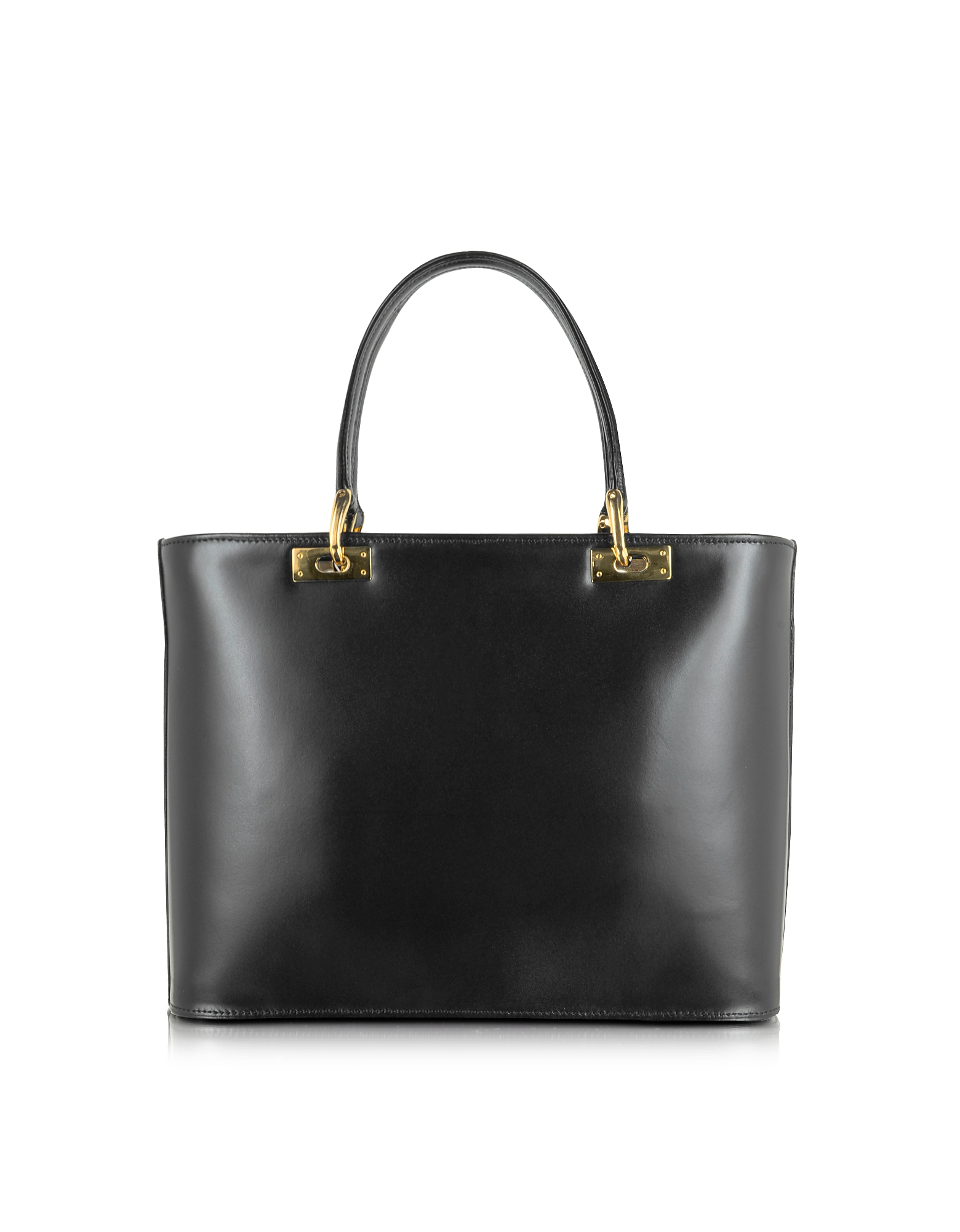 Polished Black Leather Tote Handbag