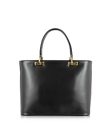 Polished Black Leather Tote Handbag - Fontanelli
