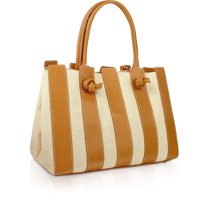 Canvas & Leather Italian Tote Handbag - Fontanelli