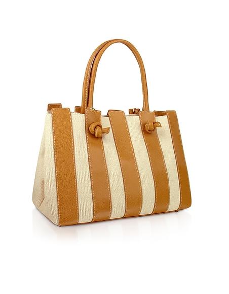 Fontanelli Handtasche aus Baumwollcanvas italienischem Leder