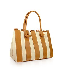 Canvas & Leather Italian Tote Handbag - Fontanelli
