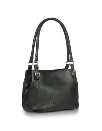 Foto der Handtasche Fontanelli Schwarze Eimer-Tasche aus weichem Leder mit Ziernaehten