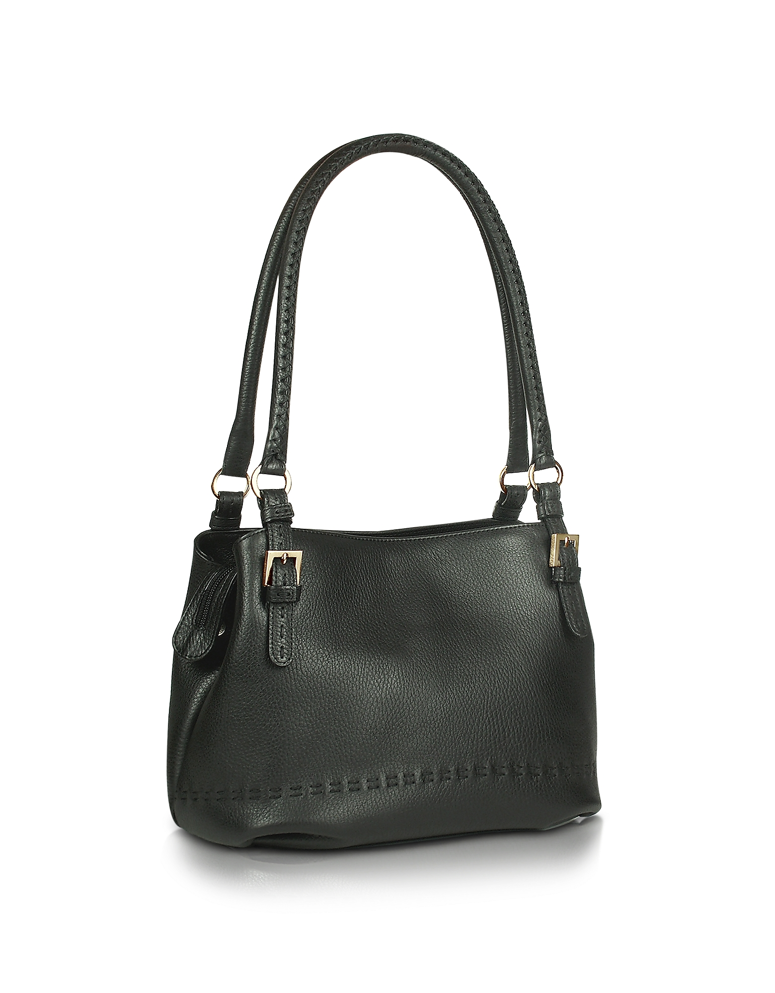 Fontanelli Handbags, Black stiched Soft Leather Handbag