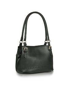 Black stiched Soft Leather Handbag - Fontanelli