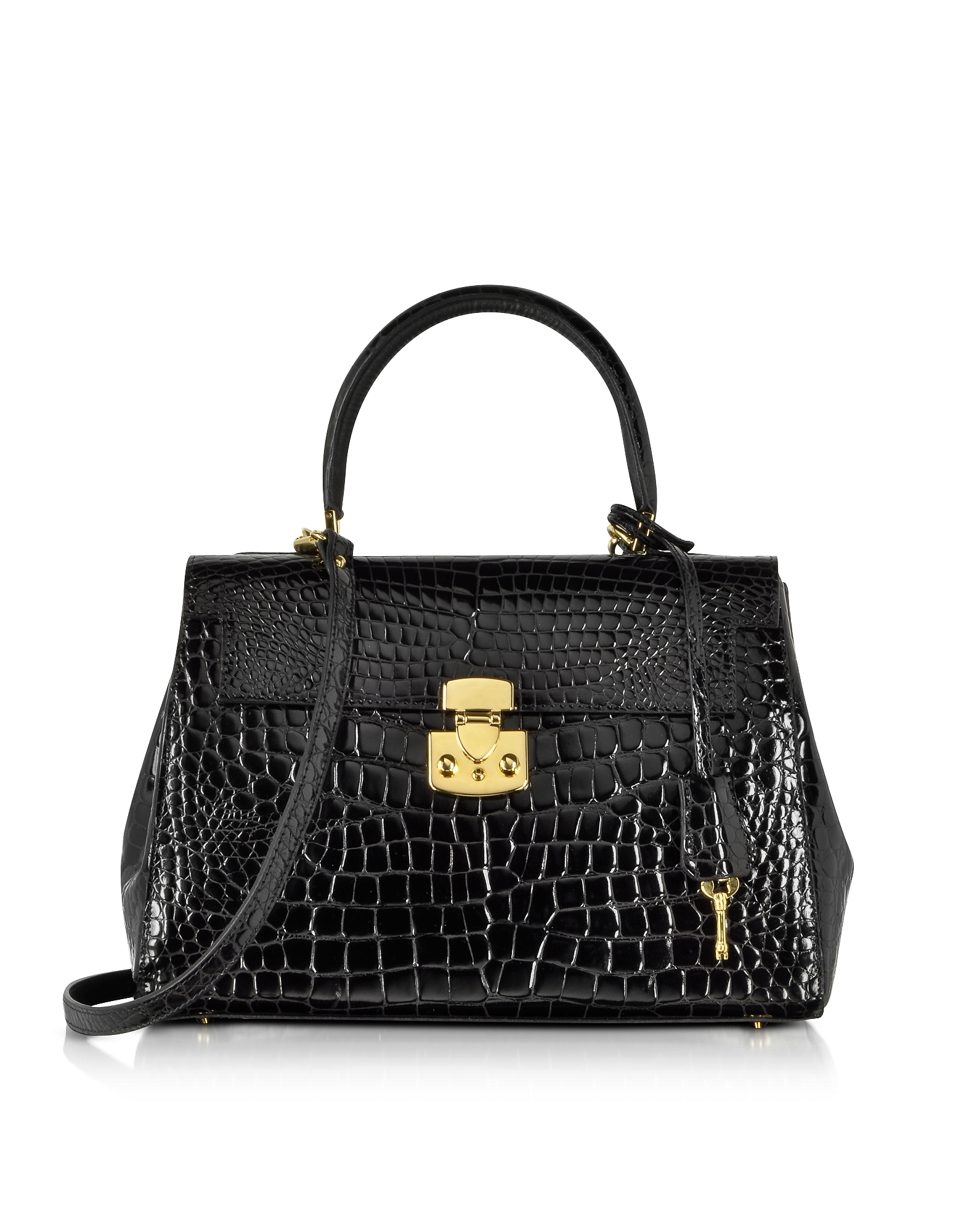 Fontanelli Handbags, Shiny Black croco-style Leather Handbag