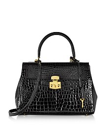Shiny Black croco-style Leather Handbag - Fontanelli