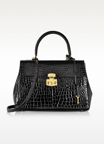 Shiny Black croco-style Leather Handbag - Fontanelli