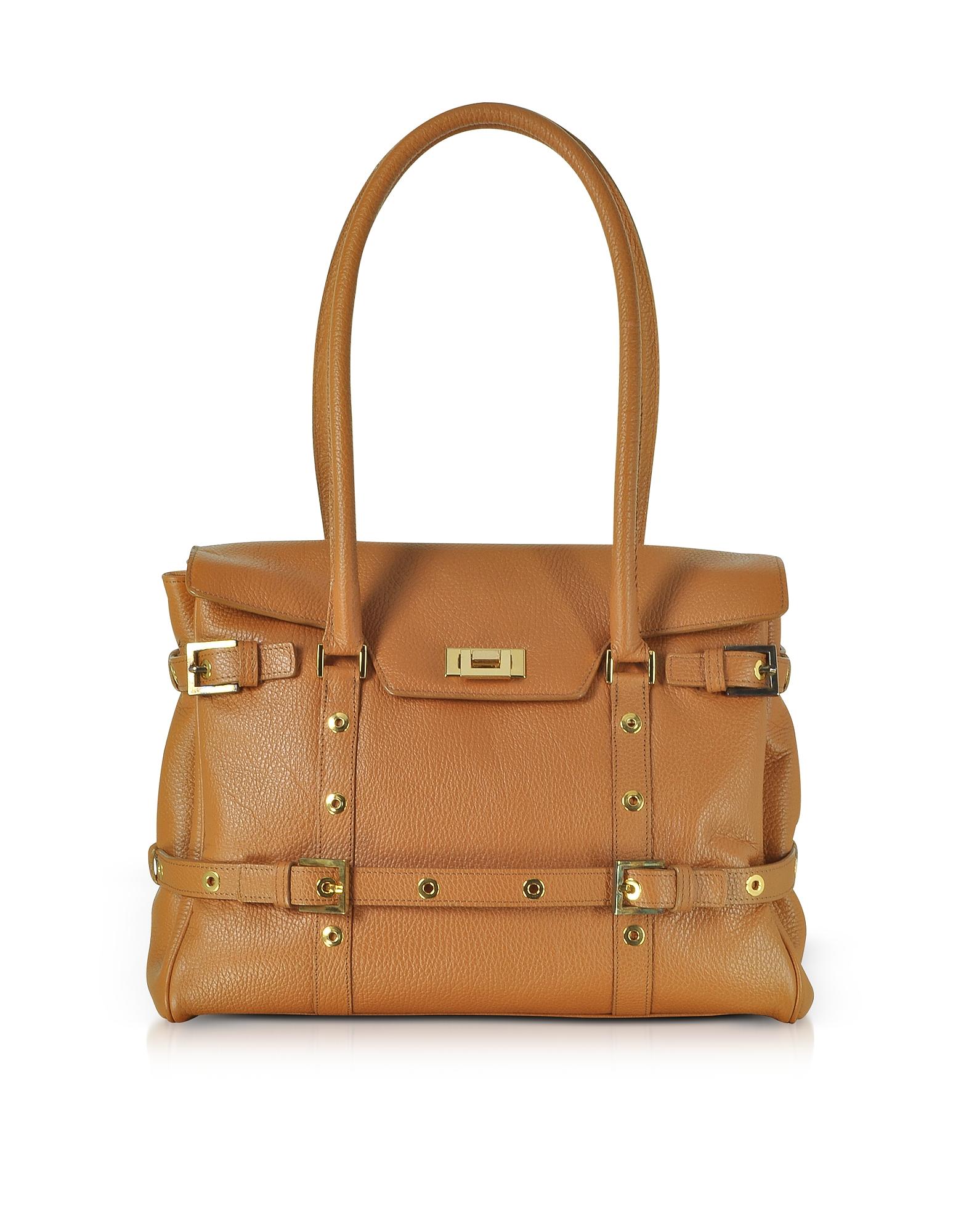 Fontanelli Handbags, Camel Buckled Calf Leather Satchel Bag