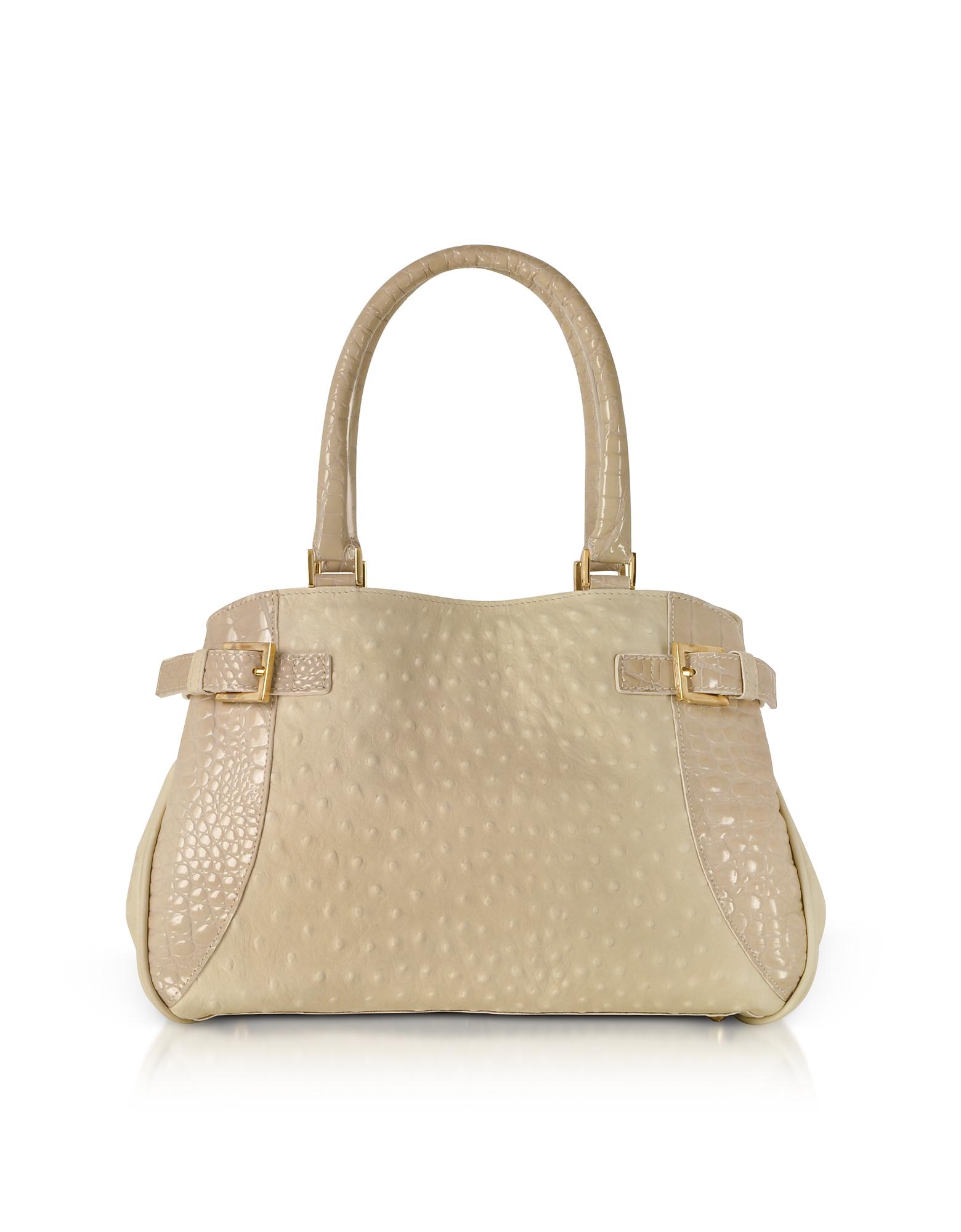 Beige Gray Ostrich & Croco Embossed Leather Satchel Bag