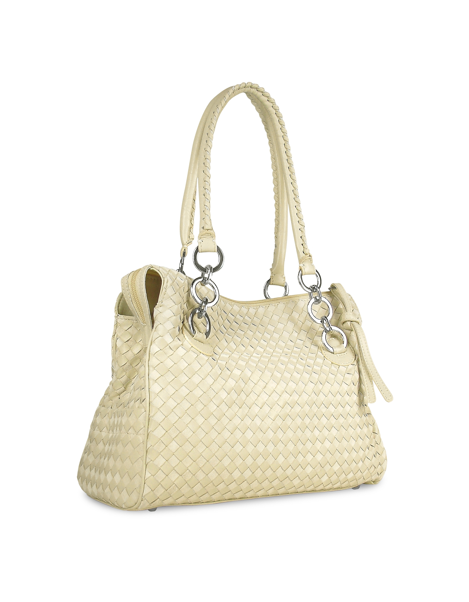 Fontanelli Handbags, Ivory Woven Italian Suede & Leather Satchel Bag