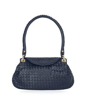 Fontanelli - Dark Blue Woven Italian Leather Flap Shoulder Bag