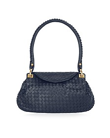 Dark Blue Woven Italian Leather Flap Shoulder Bag - Fontanelli