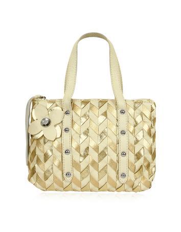 Foto der Handtasche Fontanelli Minihandtasche aus italienischem Leder gewoben in bronze & gold