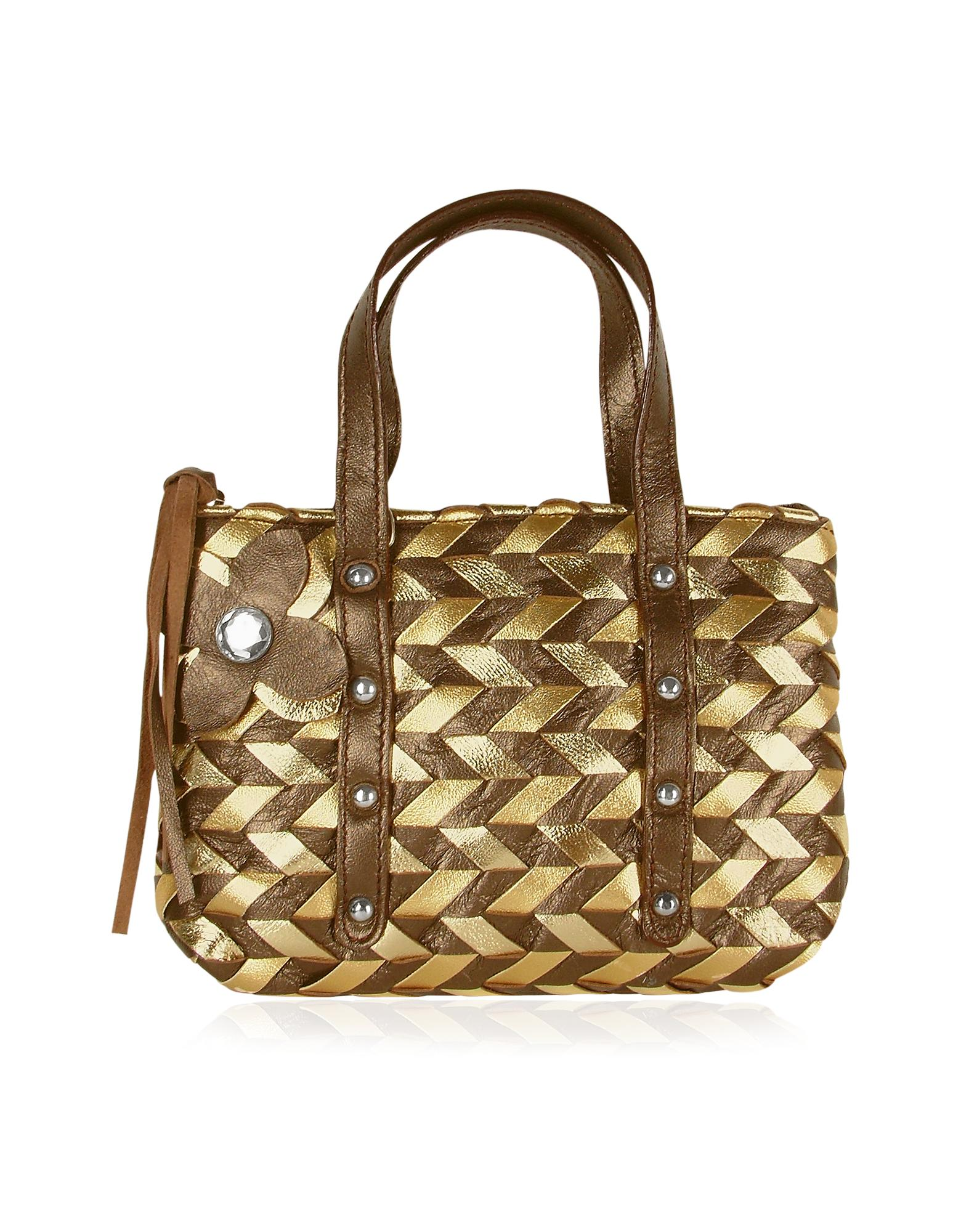 Fontanelli  Brown & Gold Italian Woven Leather Mini Bag