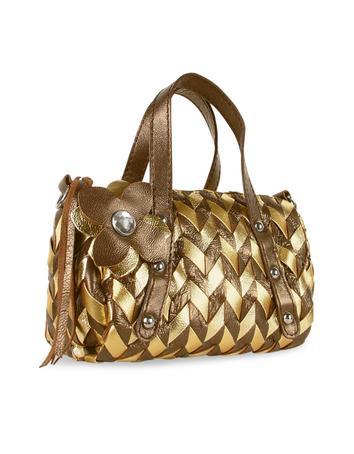 Foto der Handtasche Fontanelli Minihandtasche aus italienischem Leder gewoben in braun & gold