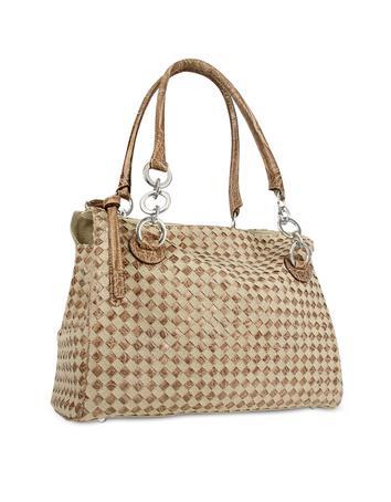 Foto der Handtasche Fontanelli Grosse Handtasche aus gewobenem Canvas und Leder in braun