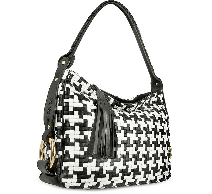 Black and White Houndstooth Woven Leather Tote Bag - Fontanelli