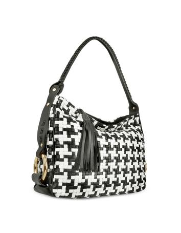 Foto der Handtasche Fontanelli Handtasche aus Leder mit schwarz & weissem Webmuster