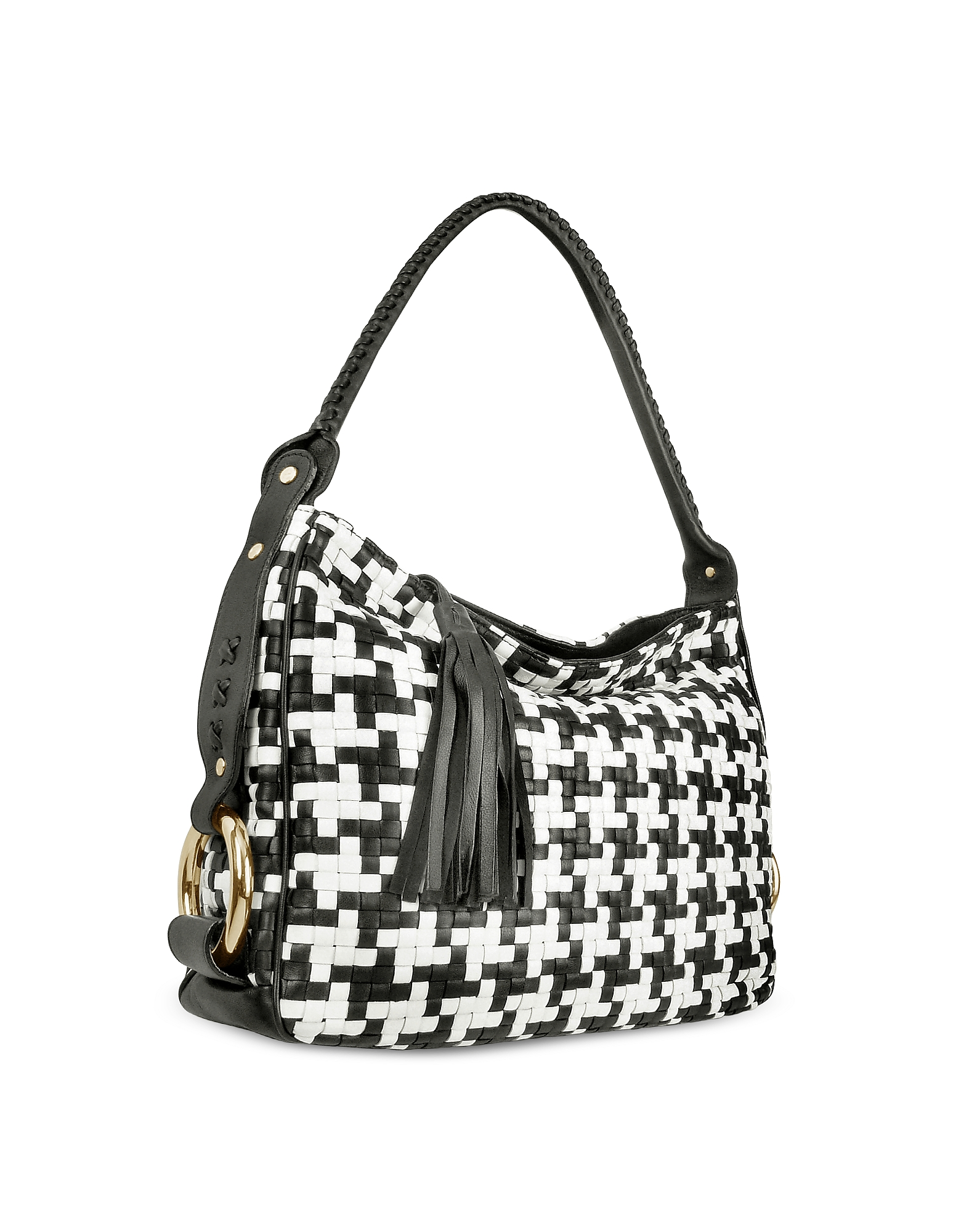 Black and White Houndstooth Woven Leather Tote Bag