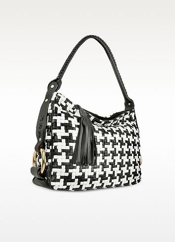 Shopping bag in pelle bianca e nero motivo pied de poule - Fontanelli