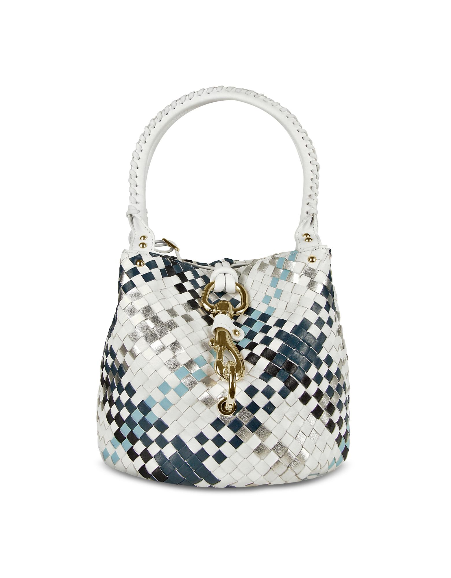 Fontanelli  Blue & White Woven Leather Mini Bucket Bag