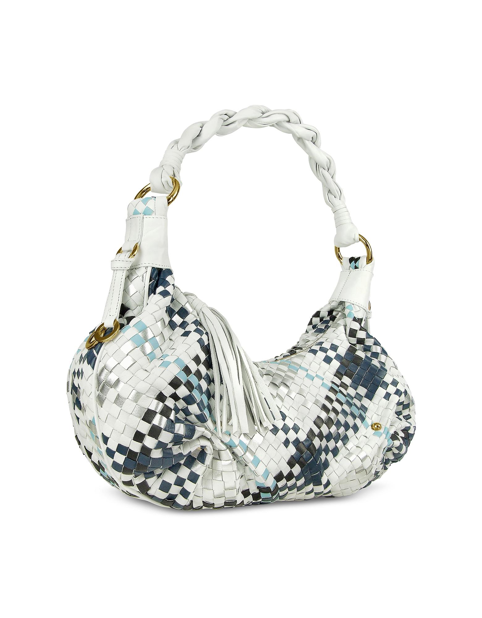 Fontanelli Handbags, Blue & White Woven Leather East/West Hobo Bag