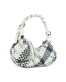 Blue & White Woven Leather East/West Hobo Bag - Fontanelli