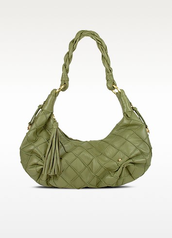 Olive Green Quilted Nappa Leather East/West Hobo Bag - Fontanelli