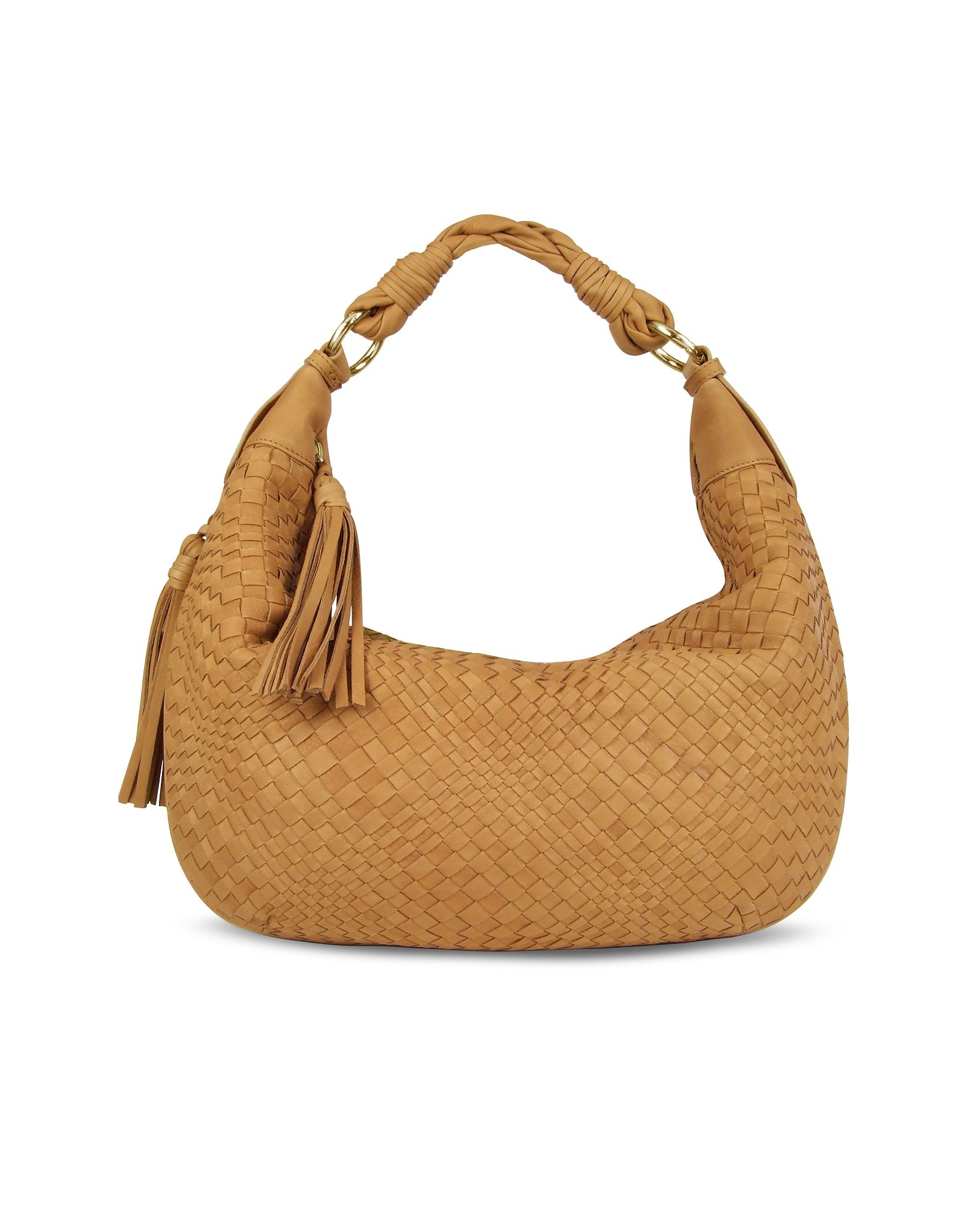Tan Washed Woven Leather Gusset Hobo Bag