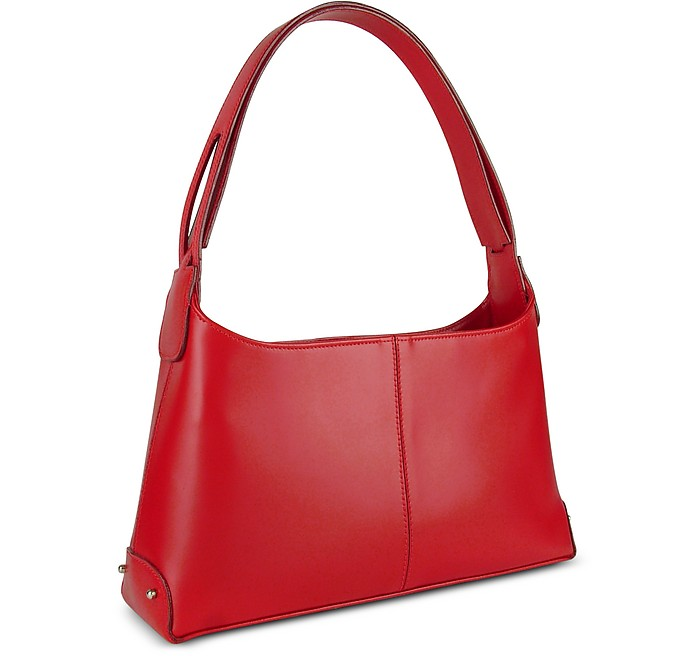 Classy Red Italian Leather Handbag - Fontanelli