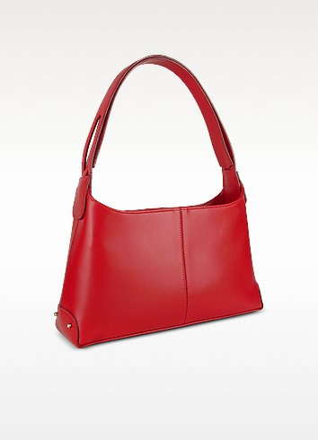 Classy Red Italian Leather Handbag - Fontanelli