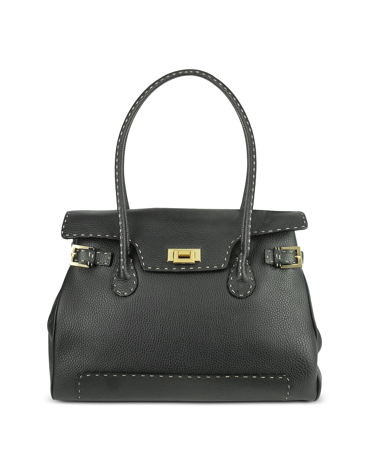 Fontanelli Handbags, Black Handstitched Pebble Leather Large Satchel Bag