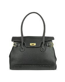 Black Handstitched Pebble Leather Large Satchel Bag - Fontanelli