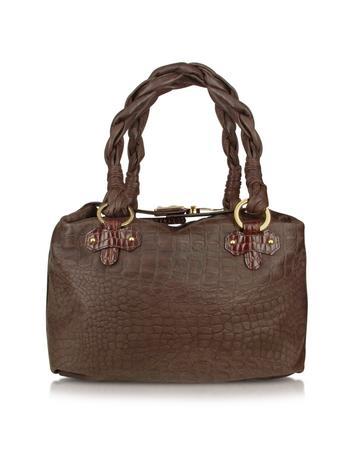 Foto der Handtasche Fontanelli Umhaengetasche aus krokogepraegtem italienischem Leder in braun