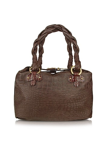 Fontanelli Brown Croco-stamped Italian Leather Tote Bag :  luxury womens bags brown