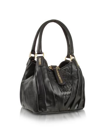Foto der Handtasche Fontanelli Handtasche aus echtem Leder in schwarz gewoben