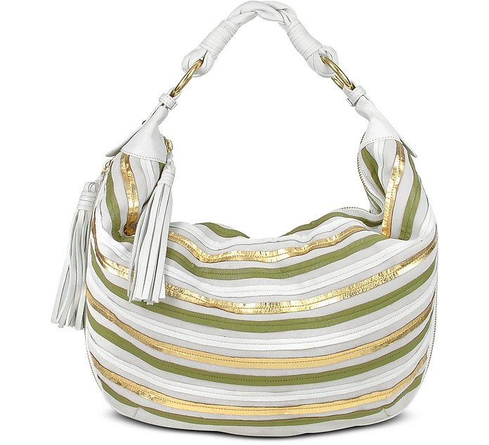 Cream Leather Striped Suede Gusset Hobo Bag - Fontanelli