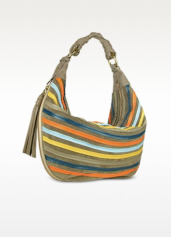 Multicolor Leather Striped Suede Gusset Hobo Bag - Fontanelli
