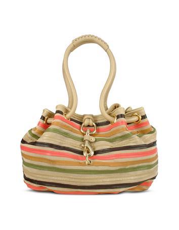 Foto der Handtasche Fontanelli Handtasche aus Wildleder mit bunten Lederstreifen