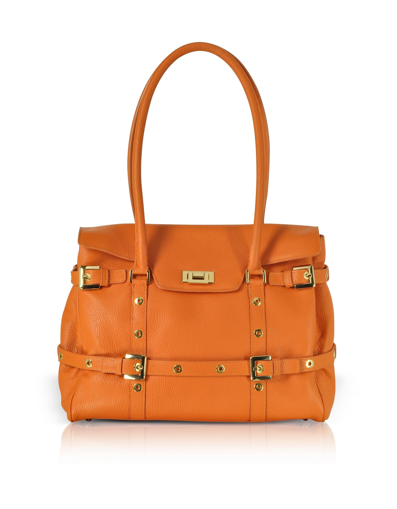 Fontanelli Designer Handbags, Orange Buckled Calf Leather Satchel Bag