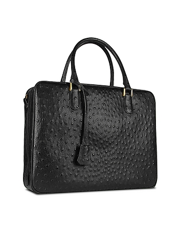 Fontanelli - Black Ostrich Stamped Leather Briefcase