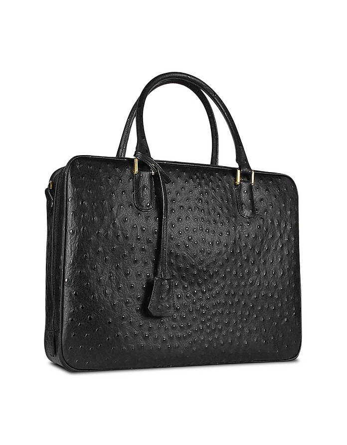 Black Ostrich Stamped Leather Briefcase - Fontanelli